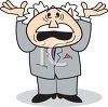 Cartoon Boss Angry with His Hands in the Air clipart