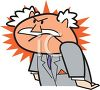 Cartoon Boss Red Faced with Rage clipart