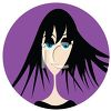 Cartoon Girl with Black Hair and Lots of Eye Make Up clipart