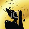 Stylized Woman in Silhouette with Big Hair clipart