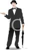 Man Wearing a Suit Carrying an Umbrella and Feeling for Rain clipart