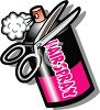 Cartoon Can of Hairspray and Scissors clipart