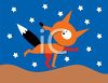 Fox Running Under the Stars clipart