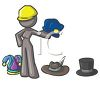 Gray Character Wearing Many Hats clipart