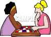 Girls Playing Checkers clipart