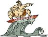 Big Guy Riding a Wave on a Surfboard clipart