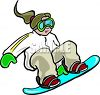 Kid Riding a Snowboard Wearing Goggles clipart