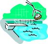 Stick Figure Falling Off a Diving Board Into a Pool clipart