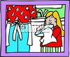 Cartoon of a Little Girl Helping Her Mother Do the Dishes clipart