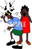 AFrican American Mother Yelling at Her Son to Turn Down His Music clipart