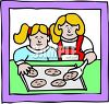 Mother and Daughter Baking Cookies clipart