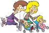 Cartoon of Mother's Jogging with Their Kids in Strollers clipart