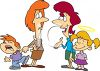 Cartoon Mothers with Their Good and Bad Kids clipart