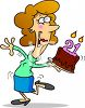 Cartoon of a Girl on Her 21st Birthday clipart
