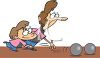 Cartoon Mother and Daughter Bowling clipart