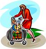 Mother with Her Handicapped Child at the Park  clipart