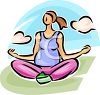 Young Pregnant Woman Doing Yoga Exercises clipart