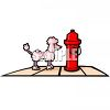 Cartoon Poodle Standing by a Fire Hydrant clipart