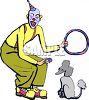 Cartoon of a Clown with His Trick Performing Poodle clipart