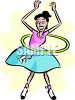 Girl Wearing a Poodle Skirt with a Hula Hoop clipart