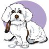 Cartoon Poodle Puppy Holding His Leash clipart