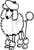 Black and White Drawing of a Poodle Wearing a Baret clipart