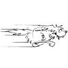 Black and White Dog Running clipart