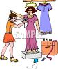 Seamstress Fitting a Customer for a Dress clipart