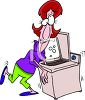 Cartoon of a Woman Doing Laundry clipart