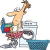 Cartoon of a Man Washing His Laundry clipart