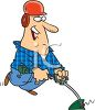 Cartoon of a Guy Weed Eating clipart