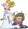 Cartoon of a Seamstress Fitting a Bride in Her Wedding Dress clipart
