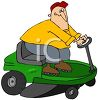 Cartoon Fat Man Mowing with a Riding Lawnmower clipart