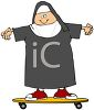 Cartoon of a Nun Riding a Skateboard clipart