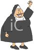 Cartoon of a Fat Nun with a Big Smile clipart