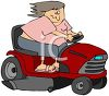 Cartoon of a Woman on a Riding Lawnmower clipart