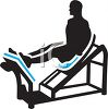 Silhouette of a Man Doing Leg Presses at a Gym clipart