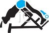 Silhouette of a Man Using a Sit Up Machine at a Gym clipart