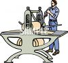 Man Using a Printing Press clipart