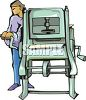 Person Using an Industrial Press clipart