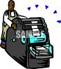 African American Man Using a Printing Press clipart