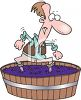 Man Stomping Grapes in a Barrel for Wine clipart