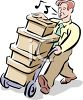 Man Moving Boxes with a Dolly clipart