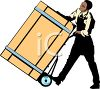 Man Moving a Heavy Crate with a Dolly clipart