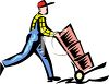 Mover Pusing Boxes on a Hand Truck clipart