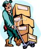 Mover Moving Cardboard Boxes on a Dolly clipart