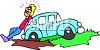 Cartoon of a Guy with His Car Stuck in the Mud clipart