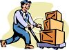 Man Pushing Boxes on a Hand Truck clipart