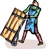 Cartoon of a Man Moving a Large Crate on a Dolly clipart