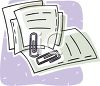 Paperwork with Paper Clips clipart